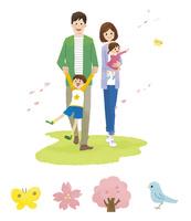 家族(春)・春アイコン 10423001084| 写真素材・ストックフォト・画像・イラスト素材|アマナイメージズ