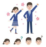 女子高校生と男子高校生の新入生と顔アイコン 10423001128| 写真素材・ストックフォト・画像・イラスト素材|アマナイメージズ