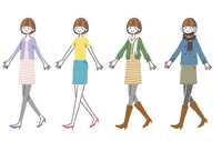 歩く女性(四季の服装) 10423001131| 写真素材・ストックフォト・画像・イラスト素材|アマナイメージズ