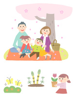 春の家族とちょうちょ・つくし 10423001138| 写真素材・ストックフォト・画像・イラスト素材|アマナイメージズ