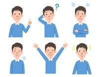 男性の表情6パターン 10423001148| 写真素材・ストックフォト・画像・イラスト素材|アマナイメージズ