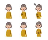 シニア女性(ボブヘアー)の表情6パターン 10423001159| 写真素材・ストックフォト・画像・イラスト素材|アマナイメージズ