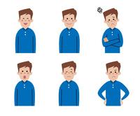 男性の表情6パターン 10423001161| 写真素材・ストックフォト・画像・イラスト素材|アマナイメージズ