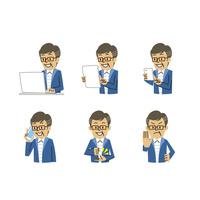 年配男性表情(パソコン、タブレット、スマートフォン、相槌、断る) 10423001178| 写真素材・ストックフォト・画像・イラスト素材|アマナイメージズ