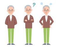 男性高齢者の全身表情3パターン 10423001183| 写真素材・ストックフォト・画像・イラスト素材|アマナイメージズ