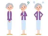女性高齢者の全身表情3パターン 10423001184| 写真素材・ストックフォト・画像・イラスト素材|アマナイメージズ