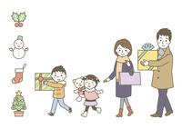 プレゼントを持つ家族(冬)・冬アイコン 10423001195| 写真素材・ストックフォト・画像・イラスト素材|アマナイメージズ