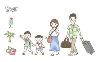 家族旅行(夏)・夏アイコン 10423001199| 写真素材・ストックフォト・画像・イラスト素材|アマナイメージズ
