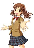 手を差し伸べて友達を呼んでいる女子生徒 10438000060  写真素材・ストックフォト・画像・イラスト素材 アマナイメージズ