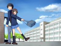 背中合わせで立つ男子生徒と女子生徒(背景校舎) 10443000071| 写真素材・ストックフォト・画像・イラスト素材|アマナイメージズ