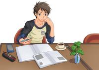 カフェで勉強する男子 10456000117| 写真素材・ストックフォト・画像・イラスト素材|アマナイメージズ