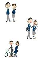 中高生男女 登下校シーン 10460000010  写真素材・ストックフォト・画像・イラスト素材 アマナイメージズ