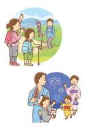 トレッキングをする家族、夏祭り花火見物をする家族 10468000371| 写真素材・ストックフォト・画像・イラスト素材|アマナイメージズ