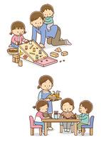 ドングリを使ってあそぶ親子、遊んでいるこどもたちとおやつを持ってきたお母さん 10468000390  写真素材・ストックフォト・画像・イラスト素材 アマナイメージズ