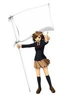 白い旗を持って指をさし立つ女子学生 10469000007  写真素材・ストックフォト・画像・イラスト素材 アマナイメージズ