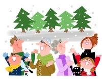 冬の家族 10473000025  写真素材・ストックフォト・画像・イラスト素材 アマナイメージズ
