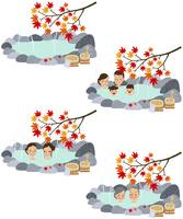 紅葉の温泉・露天風呂 10514000085| 写真素材・ストックフォト・画像・イラスト素材|アマナイメージズ
