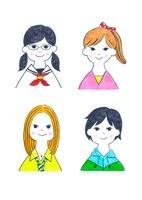 様々なタイプの10代の女の子4人 10516000020  写真素材・ストックフォト・画像・イラスト素材 アマナイメージズ