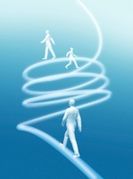 螺旋状の光線を登る3体の人物 CG                             10596000001| 写真素材・ストックフォト・画像・イラスト素材|アマナイメージズ
