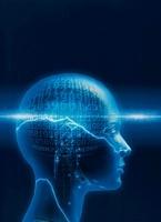 人体の頭脳のイメージ(青) CG                               10596000132| 写真素材・ストックフォト・画像・イラスト素材|アマナイメージズ