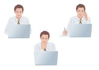 ノートパソコンで仕事をする男性 10688000012  写真素材・ストックフォト・画像・イラスト素材 アマナイメージズ