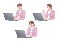 ノートパソコンで仕事をする女性 10688000013  写真素材・ストックフォト・画像・イラスト素材 アマナイメージズ