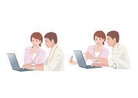 コンピューターで仕事をする男性と女性 10688000019| 写真素材・ストックフォト・画像・イラスト素材|アマナイメージズ