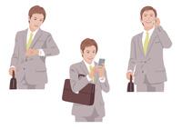 カバンを持ちながら腕時計で時間確認をして携帯電話をする男性 10688000023  写真素材・ストックフォト・画像・イラスト素材 アマナイメージズ
