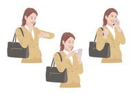 バッグを持ちながら時間確認をして携帯電話で連絡をする女性 10688000024| 写真素材・ストックフォト・画像・イラスト素材|アマナイメージズ
