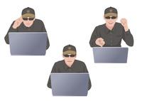コンピューターに不正侵入しようとしている男性ハッカー 10688000026| 写真素材・ストックフォト・画像・イラスト素材|アマナイメージズ