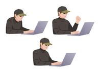 コンピューターに不正侵入しようとしている男性ハッカー 10688000027| 写真素材・ストックフォト・画像・イラスト素材|アマナイメージズ