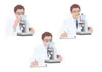顕微鏡を見ながらメモを取る白衣の男性研究員 10688000031| 写真素材・ストックフォト・画像・イラスト素材|アマナイメージズ