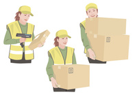 ダンボールを持って配送作業をする女性 10688000032| 写真素材・ストックフォト・画像・イラスト素材|アマナイメージズ