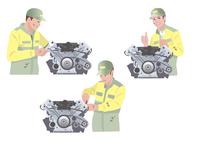 エンジン工場で働く作業着姿の男性 10688000037| 写真素材・ストックフォト・画像・イラスト素材|アマナイメージズ