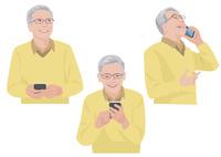 スマートフォンで会話をする60代の男性 10688000048| 写真素材・ストックフォト・画像・イラスト素材|アマナイメージズ