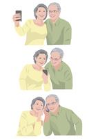 一緒に写真を撮る、メールを送る、会話をする老夫婦 10688000049| 写真素材・ストックフォト・画像・イラスト素材|アマナイメージズ