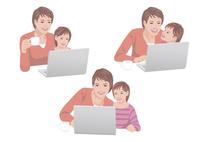 コンピューターで買い物をする母親と子供 10688000055| 写真素材・ストックフォト・画像・イラスト素材|アマナイメージズ