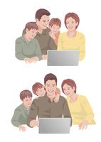 コンピューターで買い物を楽しんでいる両親と子供達 10688000056| 写真素材・ストックフォト・画像・イラスト素材|アマナイメージズ