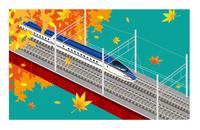 E7系北陸新幹線 秋 鉄橋の風景 10711000027| 写真素材・ストックフォト・画像・イラスト素材|アマナイメージズ
