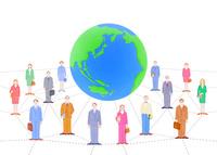 ビジネスマンとOLと地球 10757001083  写真素材・ストックフォト・画像・イラスト素材 アマナイメージズ
