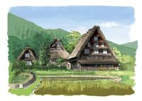 おだやかな日の当たる白川郷合掌造り集落 10822000014| 写真素材・ストックフォト・画像・イラスト素材|アマナイメージズ