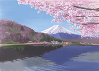 河口湖から望む桜と富士山 10822000032| 写真素材・ストックフォト・画像・イラスト素材|アマナイメージズ