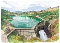 壮大な黒部ダムから紅葉をのぞむ 10822000036| 写真素材・ストックフォト・画像・イラスト素材|アマナイメージズ