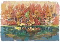 秋深い色づく紅葉と御射鹿池 10822000037| 写真素材・ストックフォト・画像・イラスト素材|アマナイメージズ