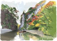 紅葉の中をすすむ猊鼻渓舟下り 10822000040| 写真素材・ストックフォト・画像・イラスト素材|アマナイメージズ