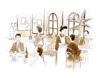食事とお酒を愉しむ人で盛況な大正時代の西洋料理店 10881000003| 写真素材・ストックフォト・画像・イラスト素材|アマナイメージズ