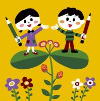 鉛筆を持った男の子と女の子 10928000002| 写真素材・ストックフォト・画像・イラスト素材|アマナイメージズ