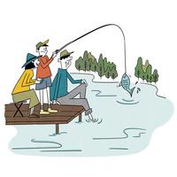 湖畔で釣りを楽しむ家族 10928000059| 写真素材・ストックフォト・画像・イラスト素材|アマナイメージズ