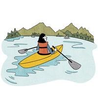 湖でカヌーを漕ぐ女性 10928000064| 写真素材・ストックフォト・画像・イラスト素材|アマナイメージズ