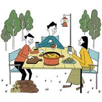 キャンプで夕食を楽しむ家族 10928000066| 写真素材・ストックフォト・画像・イラスト素材|アマナイメージズ